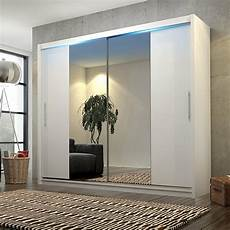 big stylish sliding wardrobe 204cm big mirrors led