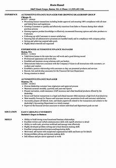 Auto Dealership Sales Manager Resume Sample Of Financial Manager Resume June 2020