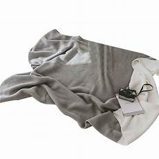 gray white air conditioning travel blanket knitted blanket