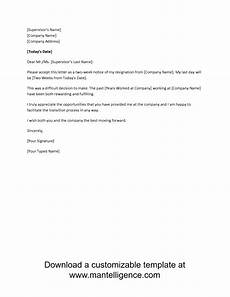 2 Week Notice Letter Examples 3 Highly Professional Two Weeks Notice Letter Templates