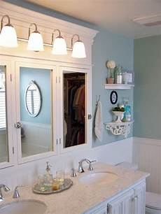 built in medicine cabinet and top detail bathroom