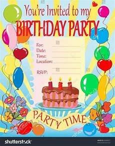 Birthday Invitation Card Size Vector Illustration Birthday Party Invitation For Kids