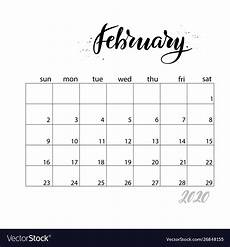 february 2020 calendar events february monthly calendar for 2020 year royalty free vector