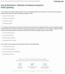 Audience Analysis Example Quiz Amp Worksheet Methods Of Audience Analysis In Public
