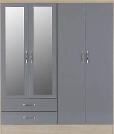 nevada 4 door 2 drawer mirrored wardrobe grey gloss