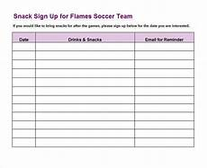 Printable Snack Sign Up Sheet 40 Sign Up Sheet Sign In Sheet Templates Word Amp Excel