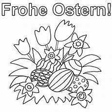 ausmalbild ostern ostereier zwischen fr 252 hlingsblumen
