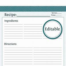Editable Recipe Page Template Recipe Card Full Page Fillable Printable Pdf Instant