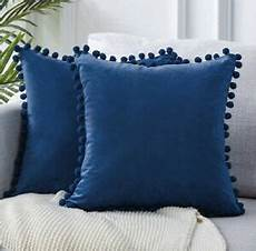 decorative velvet solid throw pillow covers with pompom 26