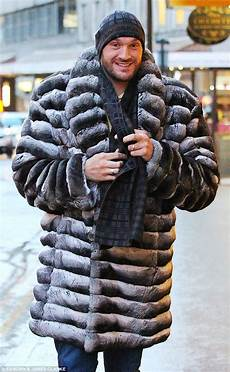 fury coats for tyson fury steps out in a bespoke chinchilla fur coat in