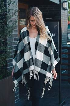 by the buffalo plaid poncho womens white sweater