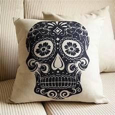 throw pillow covers on bed black skull linen cotton zara