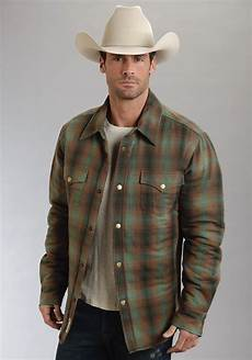 sleeve vest stetson 174 mens green brown plaid snap front western