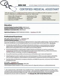 Medical Assistant Summary Resume And Cv Templates Career Related Medical