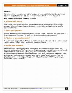 Cover Letter Interview Guide To Interview English Part 1 Cover Letter And Resume