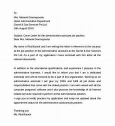 Resume Cover Letter Sample For Administrative Assistant Job Free 7 Sample Administrative Assistant Cover Letter