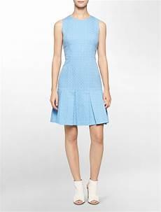 Calvin Klein Light Blue Dress Lyst Calvin Klein White Label Textured Pleated