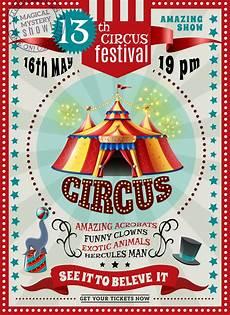 retro plakat circus festival announcement retro poster free