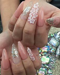 Acrylic Nails With Flower Design Stiletto Nails Peach Nails Glitter Nails 3d Art 3d