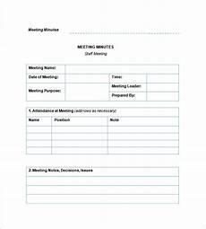 Employee Notes Template Staff Meeting Minutes Template 18 Free Word Excel Pdf