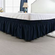 pleated bed skirt polyester wrap around dust ruffle navy
