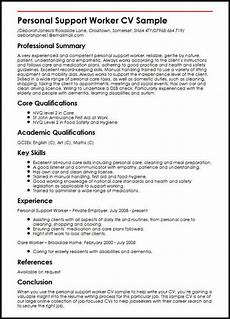 Care Worker Personal Statement Personal Support Worker Cv Sample Myperfectcv