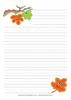 Fall Letters Template Autumn Leaves Writing Paper Themed Writing Papers