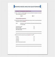Training Needs Questionnaire Template Needs Analysis Template 20 For Word Excel Pdf