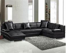 black modern leather sectional sofa set 44l3334