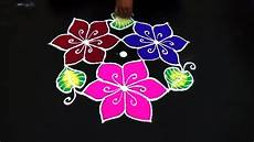Color Kolam Designs With Dots Beautiful Color Rangoli Design Easy Color Kolam Designs