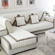 White Sofa Cover 3d Image by White Grey Plaid Plush Fur Sofa Cover Slipcovers