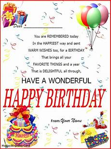 Birthday Greeting Word Birthday Card Word Template Happy Birthday Template