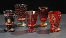 bicchieri di boemia lotto di cinque bicchieri in vetro di boemia