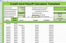Credit Card Payoff Calc Credit Card Payoff Calculator Template Xls Free Excel