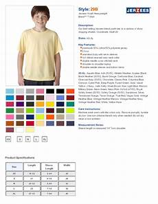 Jerzees Color Chart Jerzees 29b Youth Heavyweight 5 6 Oz 50 50 Cotton Poly T