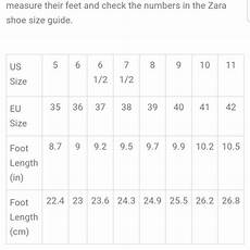 Zara Indonesia Size Chart Shoes Zara Shoe Size Chart Poshmark