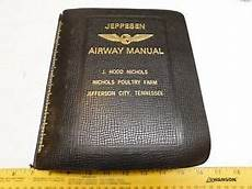 3 Vintage Jeppesen Leather Airway Manual Binder Charts