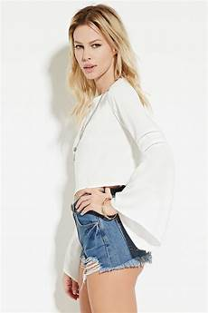 bell sleeve crop tops for lyst forever 21 bell sleeve crop top in white
