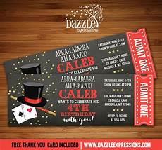Magic Themed Birthday Invitations Printable Magic Show Chalkboard Ticket Birthday Invitation