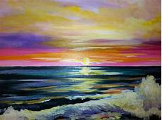 Wine And Design Mt Pleasant Sunset Waves Wine Painting Wine Design Painting