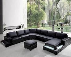 modern soft black leather sectional sofa set 44l0693