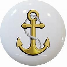 gold anchor nautical ceramic cabinet dresser drawer knob