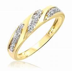 1 4 carat t w diamond women s wedding ring 14k yellow