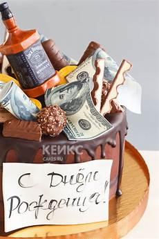 торт мужу без мастики с бутылкой виски и шоколадными