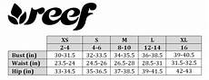 Reef Size Chart Swimstyle Fit Guide Size Charts By Brand