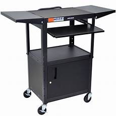luxor avj42kbcdl computer cart with locking cabinet and