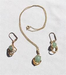 vintage sorrento 12k gold f filigree jade gem jewelry set