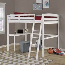 concord size high loft bed with desk white