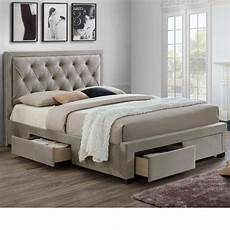 woodbury warm velvet fabric 4 drawer storage bed