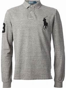 ralph sleeve polo shirts for lyst polo ralph sleeve polo shirt in gray